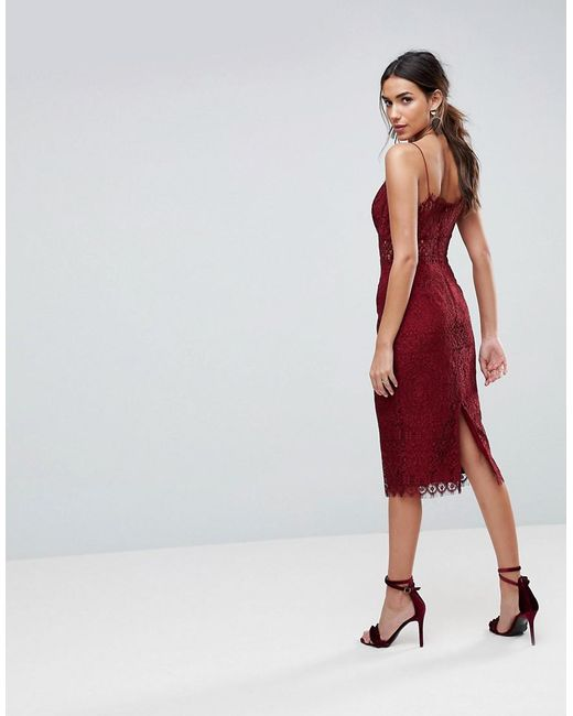 396f4f54ddecd ... ASOS - Red Asos Lace Cami Midi Pencil Dress - Lyst