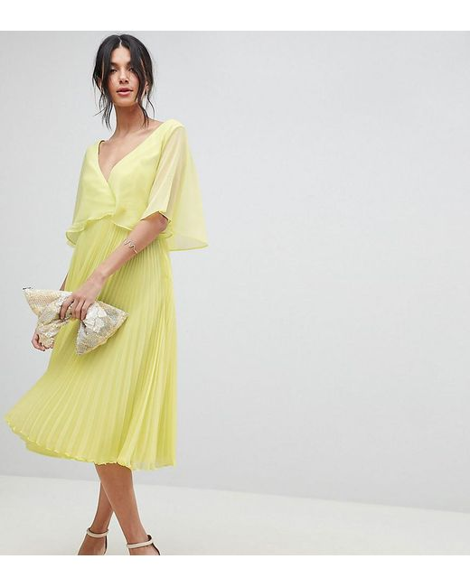 29dd344034f9 ASOS - Green Asos Design Tall Midi Dress With Pleat Skirt And Flutter Sleeve  - Lyst ...