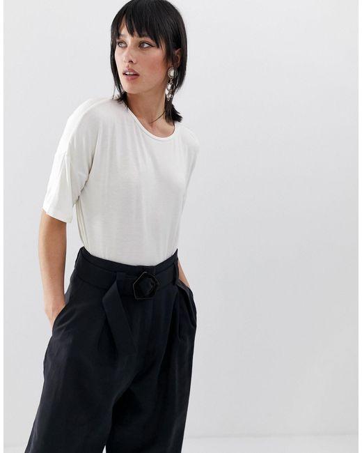 Mango White 3/4 Length Oversized T Shirt