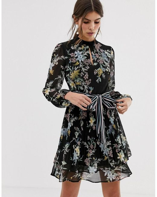 0e5273272d Oasis - Black Tea Dress With Tie Waist In Floral Print - Lyst ...