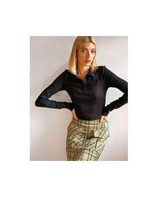 Weekday Black Erin Organic Cotton Long Sleeve Polo Top