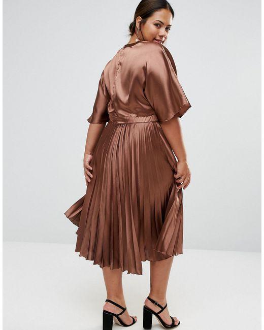 Asos Curve Satin Pleated Kaftan Midi Dress In Brown