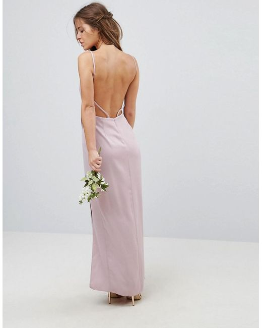 dae07026d6 ... ASOS - Pink Drape Front Strappy Back Maxi Dress - Lyst