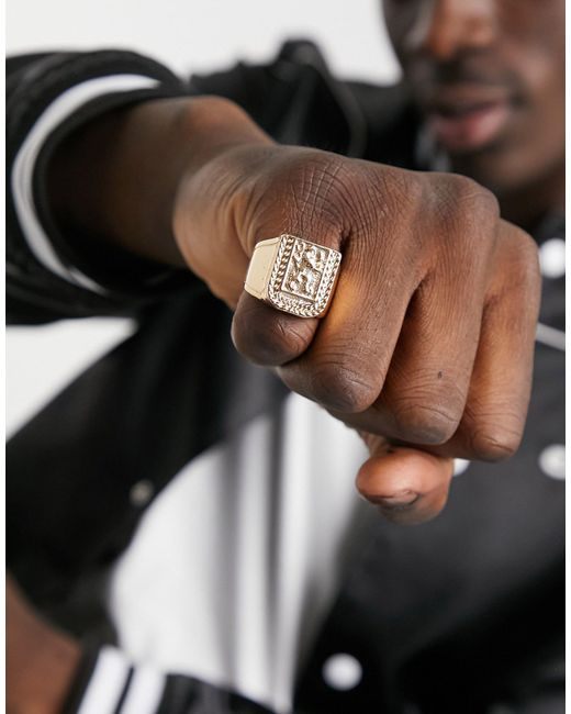 Золотистое Кольцо-печатка С Гербом В Виде Льва ASOS для него, цвет: Metallic