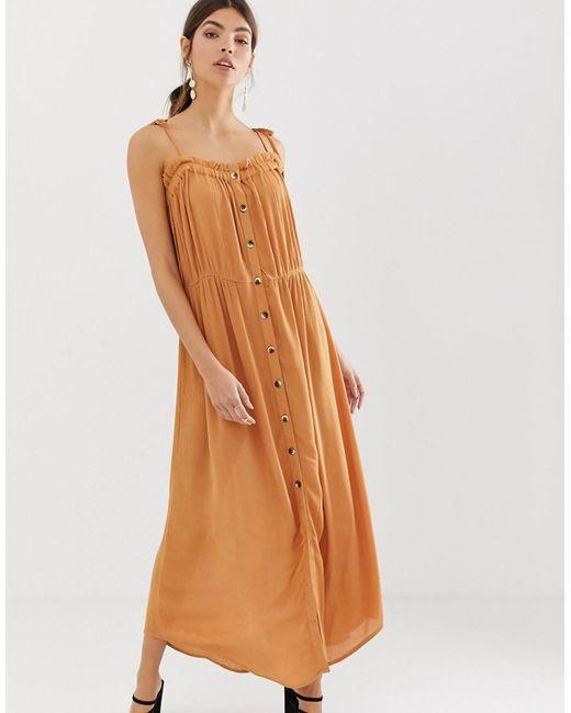 Y.A.S Brown Festival Cheesecloth Button Through Maxi Dress