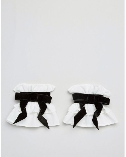 ASOS DESIGN - White Asos Velvet Bow Cuffs - Lyst