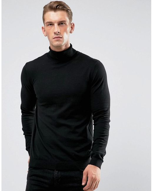 ASOS - Cotton Roll Neck In Black for Men - Lyst