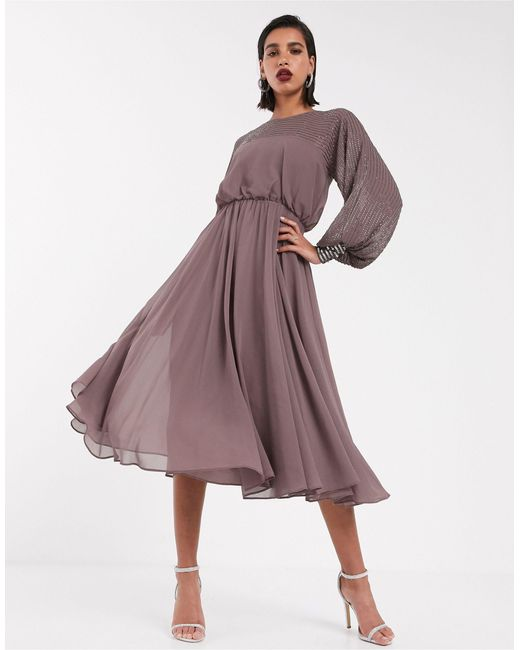 Платье Миди С Отделкой ASOS, цвет: Purple