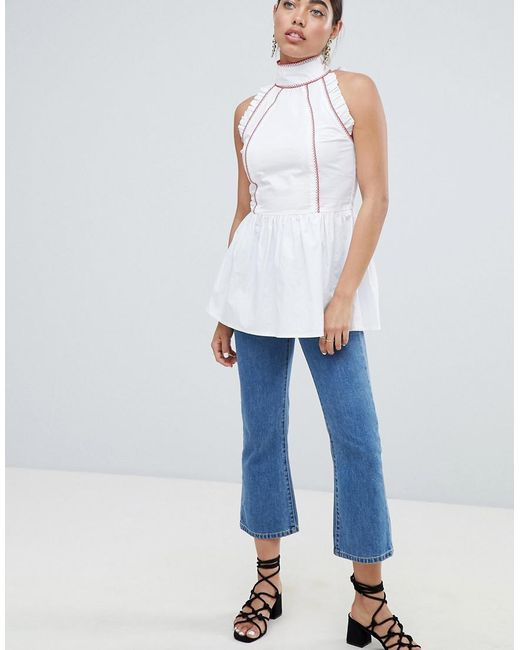 Recommend For Sale Cheap Sale Exclusive High Neck Smock Top With Contrast Trims - White Lost Ink. Outlet Popular Outlet Store Clearance Cost SCfsT
