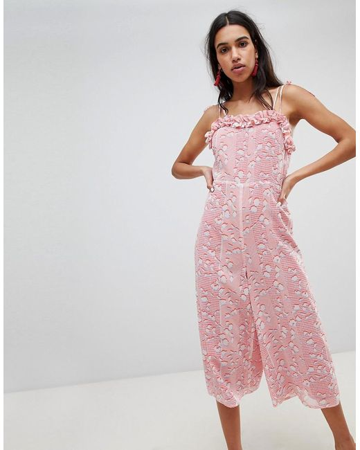 best deals on hot-selling clearance latest design Women's Pink Jumpsuit With Frill Hem In Pastel Print
