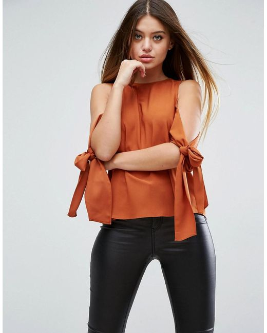 ASOS | Orange Cold Shoulder Top With Tie Sleeve | Lyst