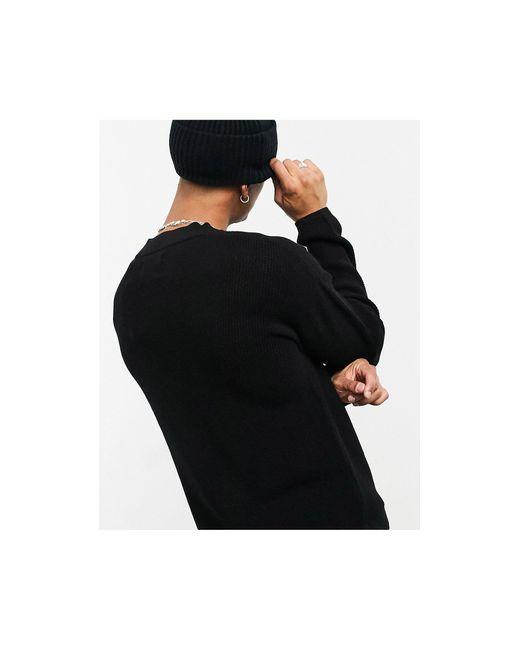 Jack & Jones – Originals – Kastenförmiger Pullover in Black für Herren