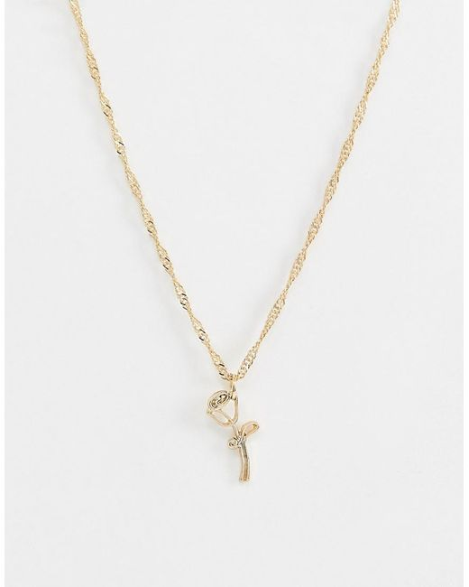 ASOS Metallic Necklace With Wire Rose Pendant In Gold