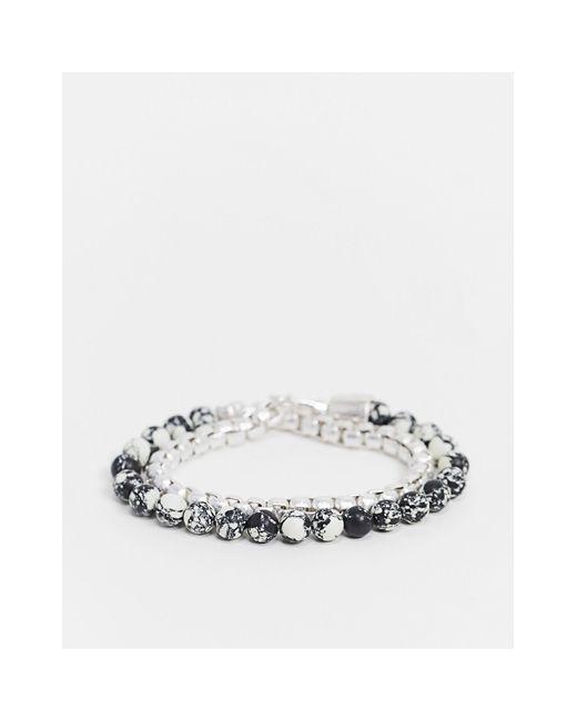Серебристо-серый Браслет-цепочка С Бусинами -серебристый Icon Brand для него, цвет: Metallic