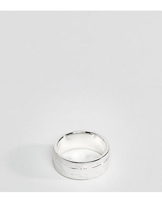 Fred Bennett - Metallic Scratch Finished Band Ring In Sterling Silver for Men - Lyst