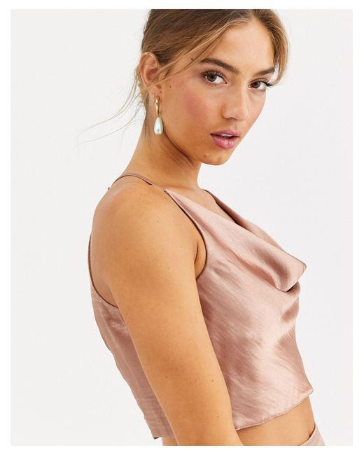 Top de satén con cuello halter desbocado de (parte ASOS de color Pink