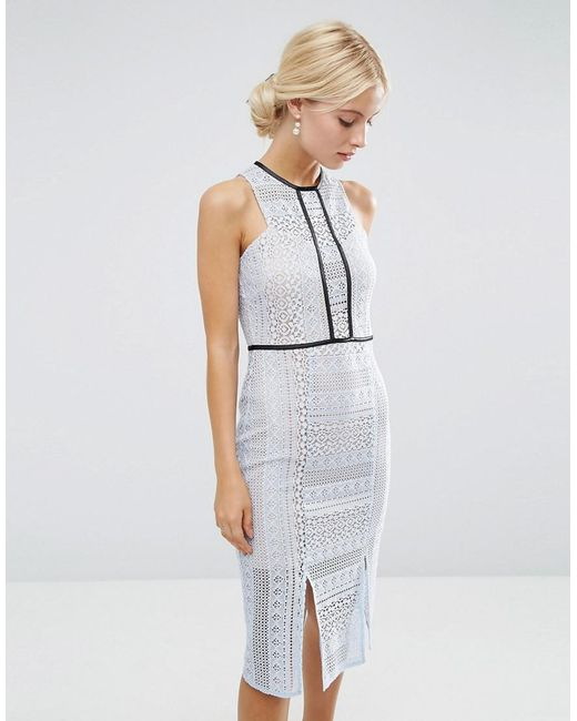 ASOS - Blue Pencil Dress In Lace With Tipping - Lyst