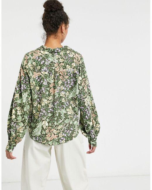 Блузка С Принтом Листьев Natalie-многоцветный Monki, цвет: Green