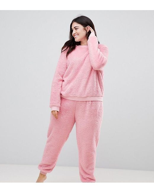 prix d'usine 6ebe1 0b490 Women's Pink Asos Design Curve Lounge Super Soft Sweat And jogger Twosie