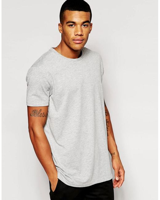 ASOS | Gray Longline T-shirt With Crew Neck for Men | Lyst