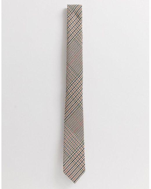 ASOS Smalle Geruite Stropdas Met Structuur in het Multicolor voor heren