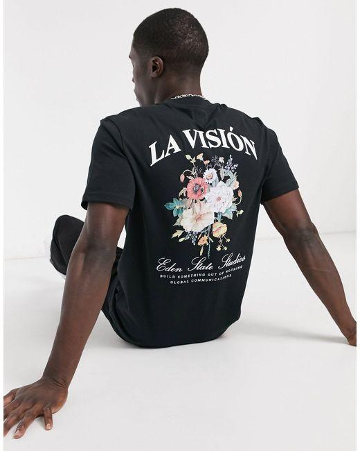 """T-shirt regular fit nera con stampa a fiori e scritta """"La visión"""" di River Island in Black da Uomo"""