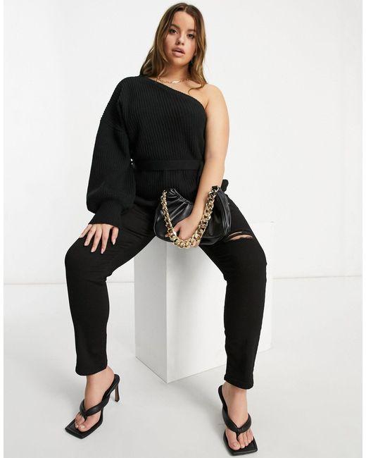 Черный Джемпер На Одно Плечо AX Paris, цвет: Black