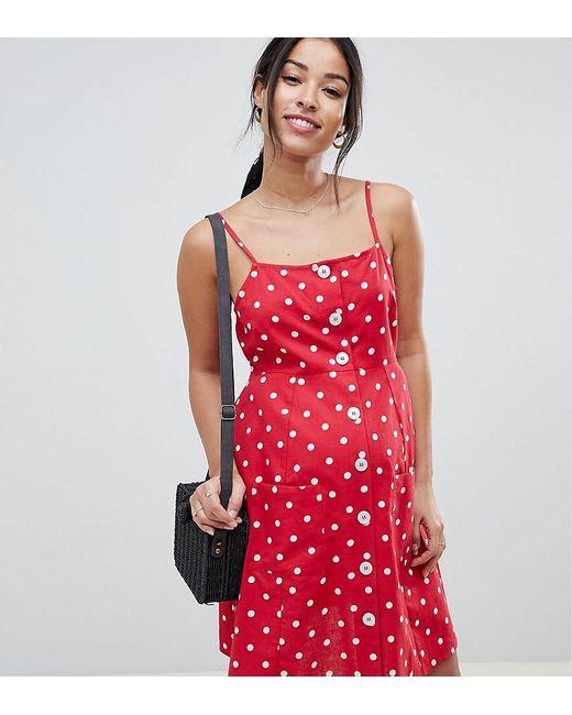 c456a0eb6e3 ASOS - Red Asos Design Maternity Polka Dot Button Through Linen Mini  Sundress - Lyst ...
