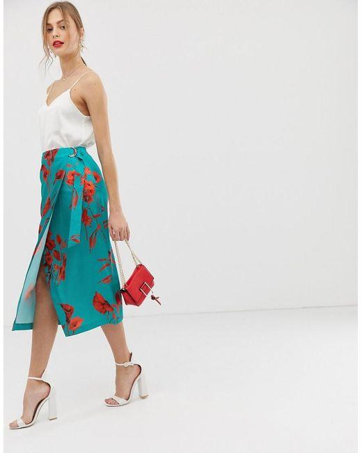 limpid in sight world-wide renown cheapest Women's Blue Fantasia Split Hem Midi Skirt