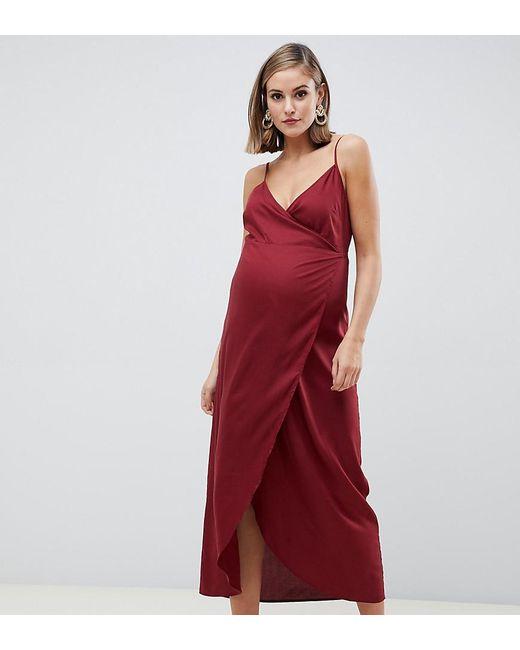 dfe4338d667 ASOS - Red Asos Design Maternity Cami Wrap Maxi Dress - Lyst ...