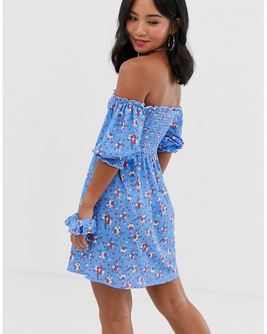 a3d2ca6408ac ... ASOS - Green Asos Design Petite Exclusive Off Shoulder Shirred Mini  Sundress With Matching Scrunchie -