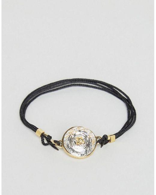 Ted Baker   Black Crystal Button Cord Bracelet   Lyst