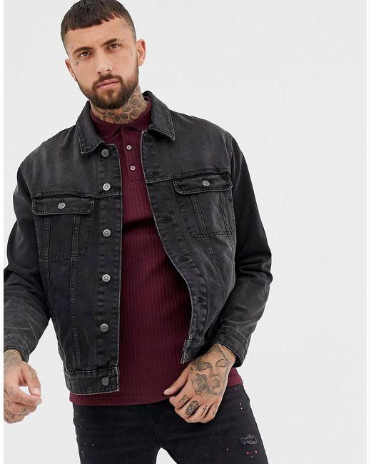 b26d7497d11c5 ASOS Oversized Denim Jacket In Washed Black in Black for Men - Lyst