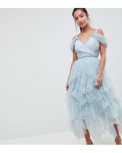 03e406d2e6cd True Decadence - Gray Premium Layered Tulle Cami Midi Dress - Lyst ...