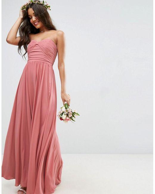 dd67e6f163ef ASOS - Natural Bridesmaid Bow Front Bandeau Maxi Dress - Lyst ...