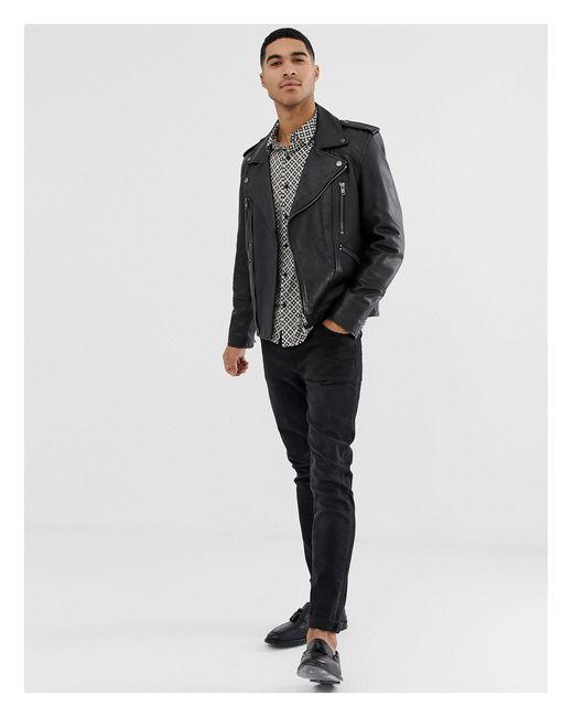Camicia vestibilità classica nera con stampa fantasia monocromatica di New Look in Black da Uomo