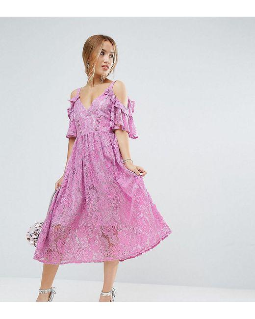 ASOS Pink Lace Midi Dress With Eyelet Tape