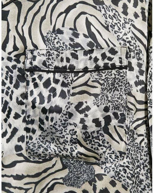 Атласная Рубашка С Короткими Рукавами, Отложным Воротником И Анималистичным Принтом -многоцветный Topman для него, цвет: Multicolor