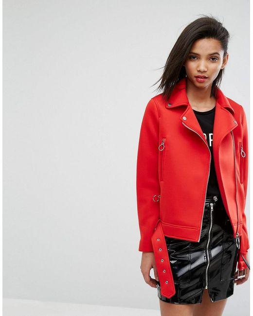 Mango | Red Scuba Biker Jacket | Lyst