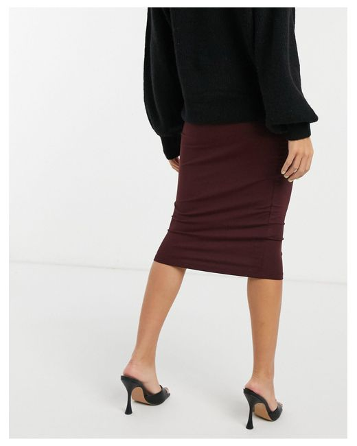ASOS Red Jersey Pencil Midi Skirt