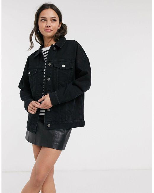 Черная Джинсовая Oversize-куртка ASOS, цвет: Black