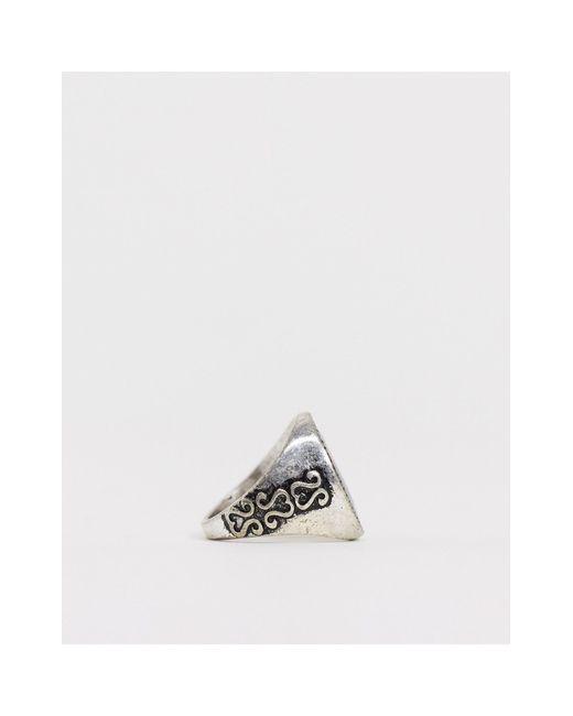 Серебристое Кольцо-печатка Со Змеей -серебряный Reclaimed (vintage) для него, цвет: Metallic