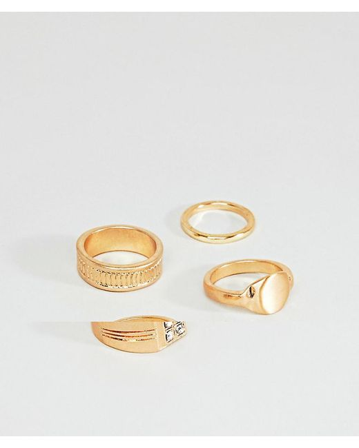 ASOS - Metallic Design Vintage Style Signet Ring Pack In Gold for Men - Lyst
