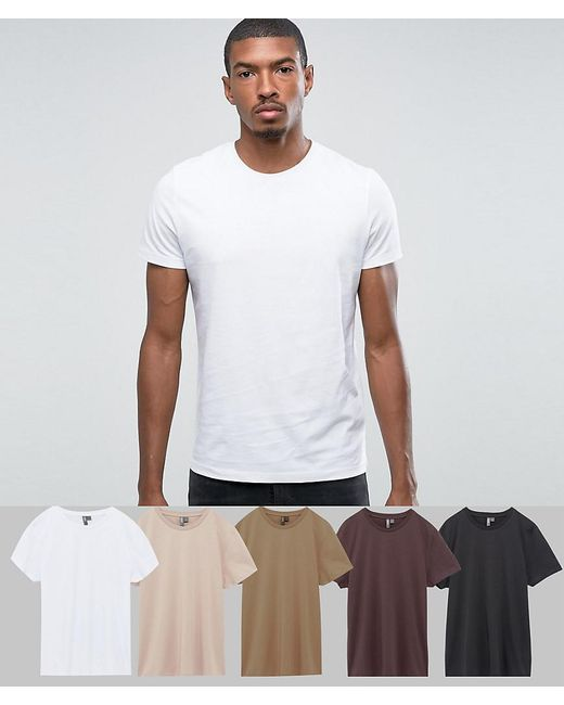 ASOS - White T-shirt With Crew Neck 5 Pack Save for Men - Lyst