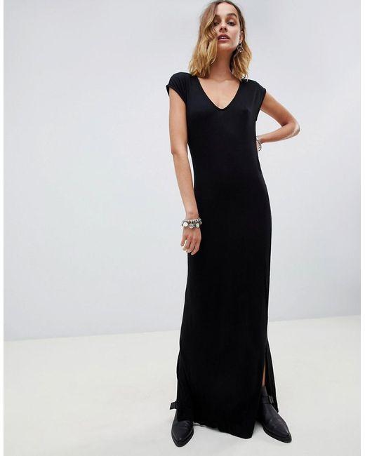 NYTT - Black Emilia Side Slit Midi Dress - Lyst