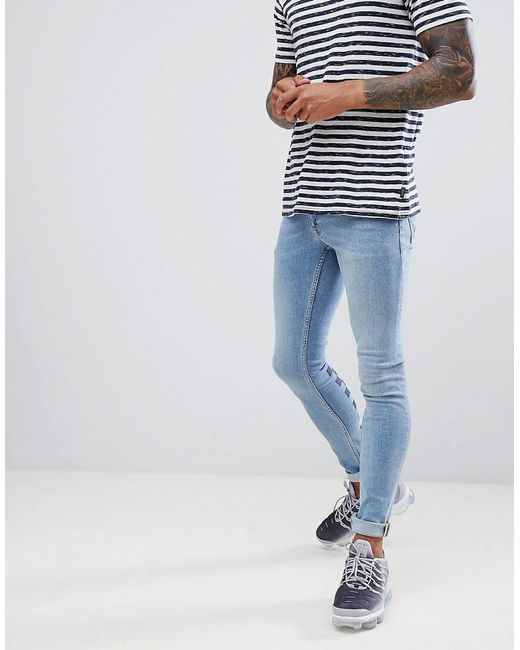 11224b89e ... ASOS Blue Extreme Super Skinny Jeans In Light Wash With Checkerboard  Print And Busted Knee for