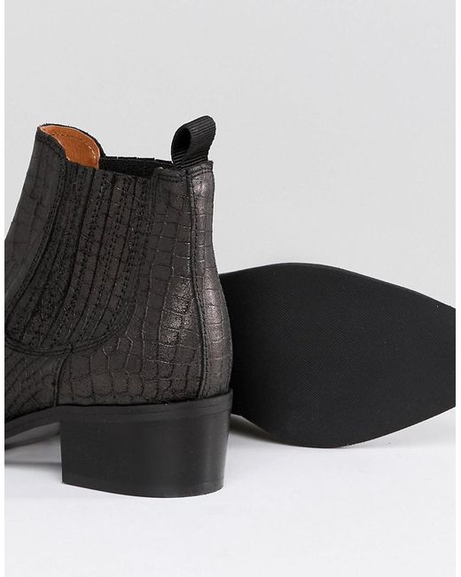 Selected Leather Embossed Chelsea Boot
