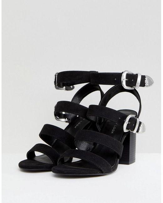 8edf93d7c37 Women's Black Multi Strap Western Buckle Block Heel Sandal