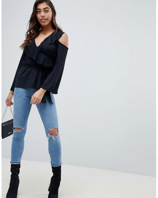 DESIGN Wrap Top with Ruffle Detail - Black Asos Sale Online Shopping MlPboMgA