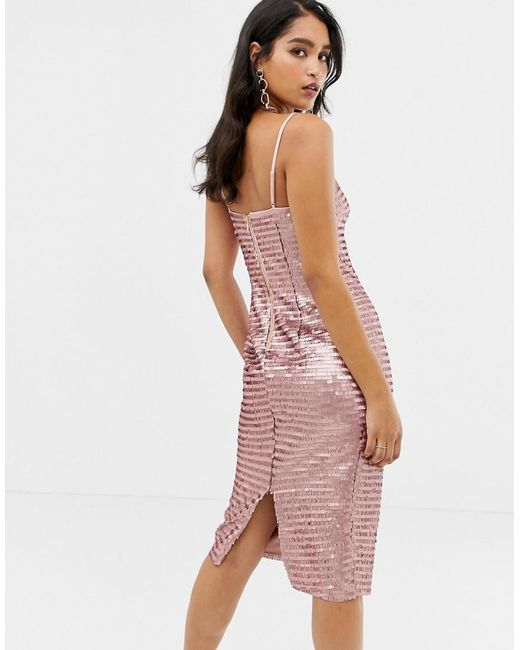 772282d1 Forever New Allover Sequin Cami Midi Dress In Pink in Pink - Lyst